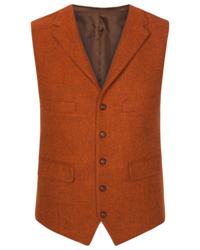 Harris Tweed Weste in Orange