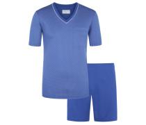 Kurzer Pyjama mit modischem Muster von Novila in Blau für Herren