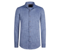 Modern Fit Freizeithemd, Karomuster von Tom Rusborg Premium in Blau für Herren