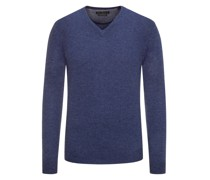 Pullover im Merino-Mix, V-Neck  Denim