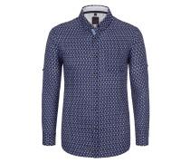 Freizeithemd in reinem Leinem, modisches Muster von Tom in Blau für Herren