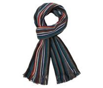 Mehrfarbiger Wollmix Schal von Tom Rusborg in Petrol für Herren