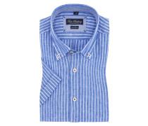 Kurzarmhemd aus Leinen von Tom Rusborg in Blau für Herren