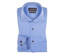Strukturiertes Custom Fit Hemd mit extra kurzem Arm von Jacques Britt in Blau für Herren