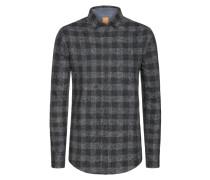 Kariertes Flanellhemd mit Blumen-Print, Slim-Fit von Boss Orange in Grau für Herren