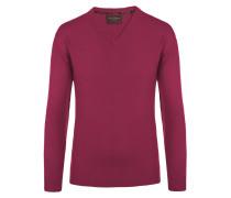 V-Neck Pullover aus 100% Kaschmir von Tom Rusborg Premium in Berry für Herren