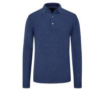 Pullover mit Polokragen, im Merino-Mix  Denim