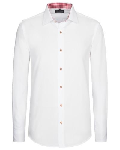 Trachtenhemd mit Karo-Muster in Weiss/rot