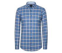 Casual Flanellhemd, Button-Down von Olymp in Blau für Herren