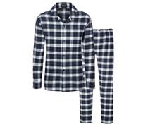Softer Flanell-Schlafanzug im Karo-Dessin von Novila in Blau für Herren