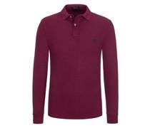 Langarm-Poloshirt, Custom Slim Fit Bordeaux
