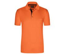 Poloshirt in mercerisierter Baumwolle, unifarben von Tom Rusborg in Orange für Herren