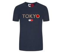 T-Shirt mit Front-Stickerei  Marine
