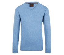 V-Neck Pullover aus 100% Kaschmir von Tom Rusborg Premium in Hellblau für Herren