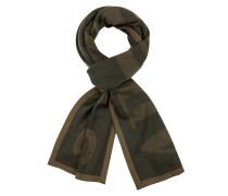 Schal im Wollmix mit Labelschriftzug von Armani Jeans in Oliv für Herren