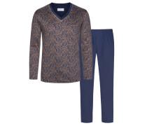 Pyjama mit Paisley-Muster von Novila in Marine für Herren