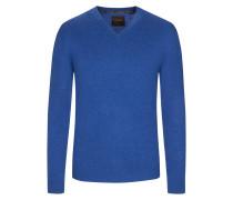 V-Neck Pullover aus 100% Kaschmir von Tom Rusborg Premium in Mittelblau für Herren