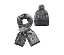 Mütze & Schal im Set von Tom Rusborg in Hellgrau für Herren