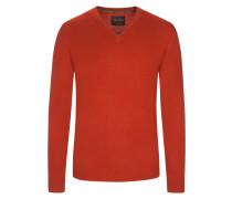 V-Neck Pullover aus 100% Kaschmir von Tom Rusborg Premium in Rost für Herren