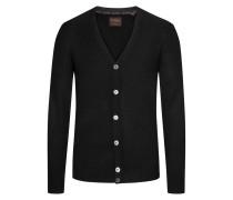 Kaschmir-Strickjacke mit tiefem V-Ausschnitt von Tom Rusborg Premium in Schwarz für Herren