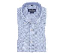 Kurzarm-Leinenhemd, Minimalmuster von Tom Rusborg in Weiss für Herren