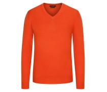 Pullover aus Merino-Kashmir, V-Neck in Orange