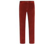 Winterliche Flatfront-Cordhose von Eurex in Rot für Herren