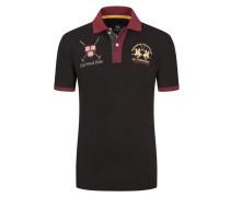 Poloshirt mit Stickereien von La Martina in Schwarz für Herren