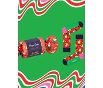 Geschenkbox, Weihnachtssocken  Gruen