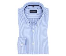 Oxford-Businesshemd mit Button-Down-Kragen, gestreift von Tom Rusborg in Blau für Herren