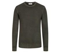 Pullover im Washed-Look, O-Neck  Oliv