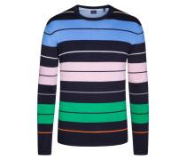 Pullover in reiner Baumwolle, gestreift von Tom in Blau für Herren