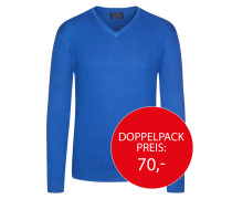 V-Neck Basic Pullover von Tom Rusborg in Royal für Herren