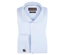 Gestreiftes Businesshemd mit Umschlagmanschette von Jacques Britt in Blau für Herren