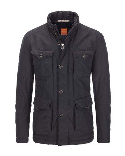 hugo boss herren winterjacke im fieldjacket look schwarz von boss orange 25 reduziert. Black Bedroom Furniture Sets. Home Design Ideas