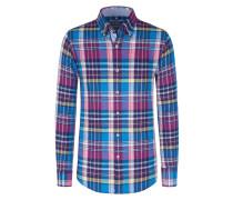 Leinenhemd, kariert von Tom Rusborg in Lila für Herren