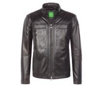 Markant genarbte Designer-Lederjacke von Boss Green in Schwarz für Herren