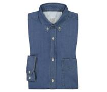 Denim-Hemd mit Brusttasche in Blau