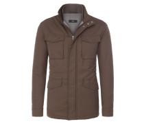 Wetterfeste Designer-Jacke mit vier Pattentaschen von Boss in Oliv für Herren