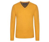 Merino/Kaschmir V-Neck Pullover von Tom Rusborg in Gelb für Herren