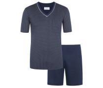 Kurzer Pyjama mit modischem Muster von Novila in Marine für Herren