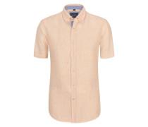 Leinen-Hemd mit feiner Streifen-Struktur von Tom Rusborg in Orange für Herren