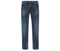 Superelastische Jeans mit Used-Effekten von Alberto in Marine für Herren