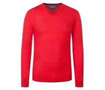 Lambswool V-Neck Pullover von Tommy Hilfiger in Rot für Herren