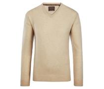 V-Neck Pullover aus 100% Kaschmir von Tom Rusborg Premium in Beige für Herren