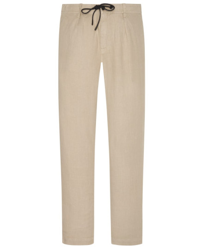 Leinenhose, Tapered Fit in Beige