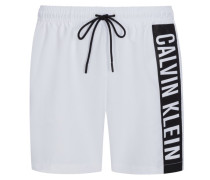 Badehose mit Logo-Applikation in Weiss