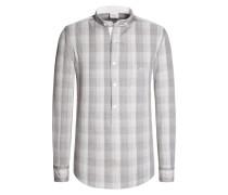 Trachtenhemd mit halber Knopfleiste von Luis Trenker in Hellgrau für Herren