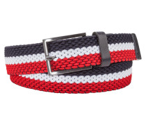 Dreifarbiger Stretch-Gürtel von Tom in Rot für Herren