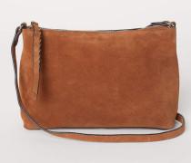 Handtasche aus Veloursleder - Cognacbraun